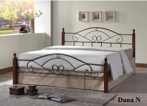 Кровать ДАНА двуспальная металлическая с деревянными ножками 140х200 темный орех