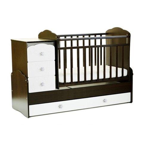 Кровать детская СКВ-9, 4 ящика, маятник, фасад-жираф (венге+белый)
