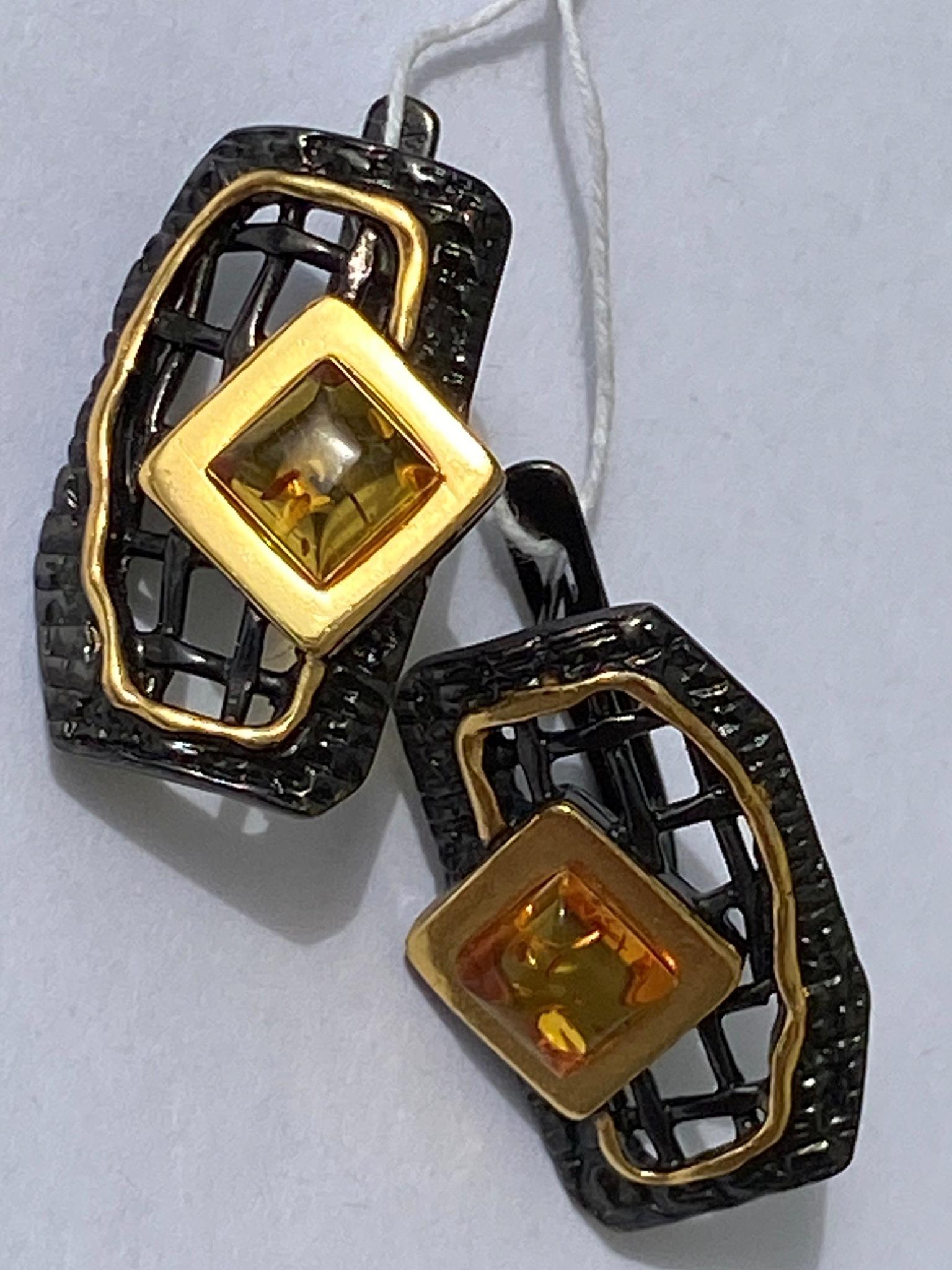 Грида-черный(серьги из серебра)
