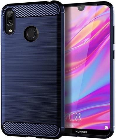 Чехол Huawei Y7 2019 (Y7 Pro, Y7 Prime) цвет Blue (синий), серия Carbon, Caseport