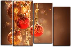 """Модульная картина """"Новогодние шары"""""""