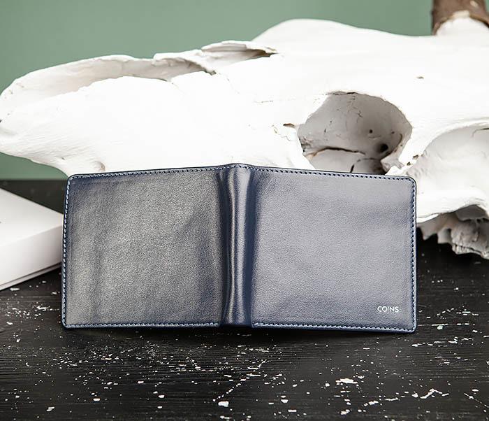 WL320-3 Классический кошелек для купюр и карт из синей кожи, «Moriz» фото 05