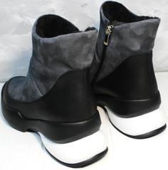 Полусапожки на зиму женские Jina 7195 Leather Black-Gray