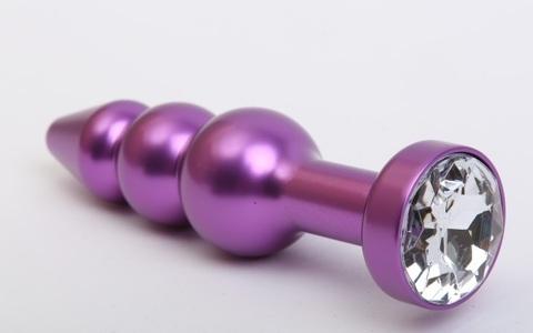 Пробка металл фигурная елочка фиолетовая с прозрачным стразом 11,2х2,9см 47433-4MM