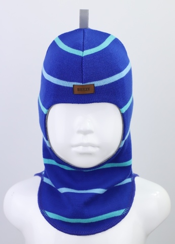 Шапка-шлем, синий/голубой 100% шерсть