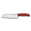 Нож Victorinox сантоку, лезвие 17 см рифленое, красный (подарочная упаковка)