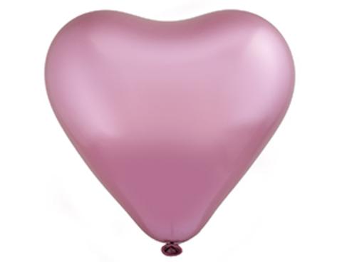 Воздушный шар сердце Хром розовый
