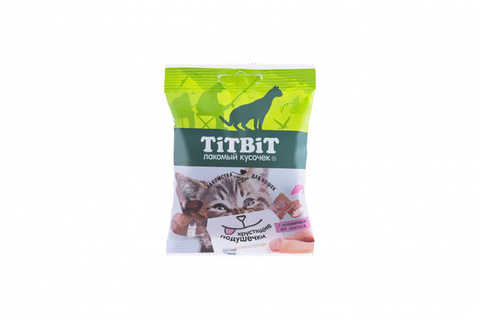 Titbit Хрустящие подушечки для кошек с начинкой из лосося 30 г