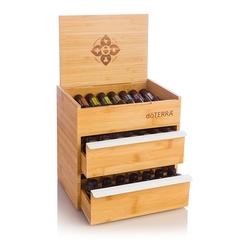 Бамбуковая шкатулка с 2-мя выдвижными ящиками для хранения эфирных масел, 25см x 19см x 24.5см / Bamboo Box Double Drawer