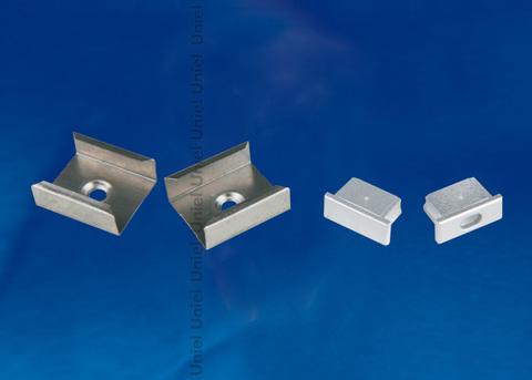 UFE-N12 SILVER A POLYBAG Набор аксессуаров для алюминиевого профиля. Крепежные скобы (4 шт., сталь) и заглушки (4 шт., пластик). Цвет серебро. ТМ Uniel.