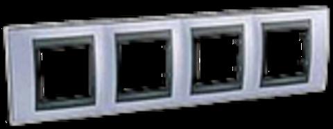Рамка на 4 поста. Цвет Берилл-графит. Schneider electric Unica Top. MGU66.008.298