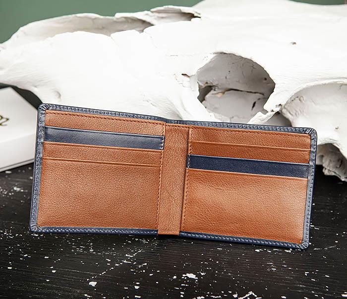 WL320-3 Классический кошелек для купюр и карт из синей кожи, «Moriz» фото 06