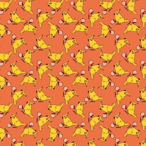 Играющий попугай корелла на ярко-оранжевом фоне