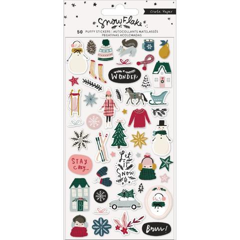 Стикеры обьемные  Snowflake Puffy Stickers 50 шт