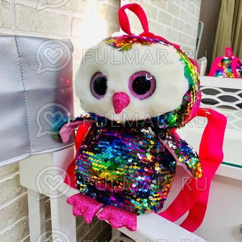 Рюкзак маленький детский-Игрушка Сова в пайетках меняет Цвет Радужный-Серебристый 30х14х10 см