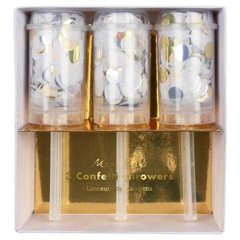 Хлопушки с конфетти, золото, серебро, белый, 3 шт.