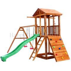 Детская площадка М9 с качелями, широким скалодромом и деревянной крышей