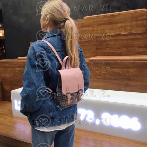Рюкзак женский стильный с прозрачными вставками Розовый