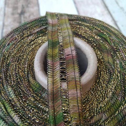 Хлопковая лента FILATI COLOR PASSEPARTOUT бежево-зеленая с золотом