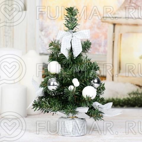 Маленькая настольная Ёлка с белыми украшениями 25х12 см