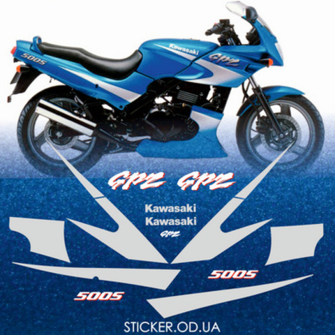 Набор виниловых наклеек на мотоцикл KAWASAKI GPZ 500S 1996