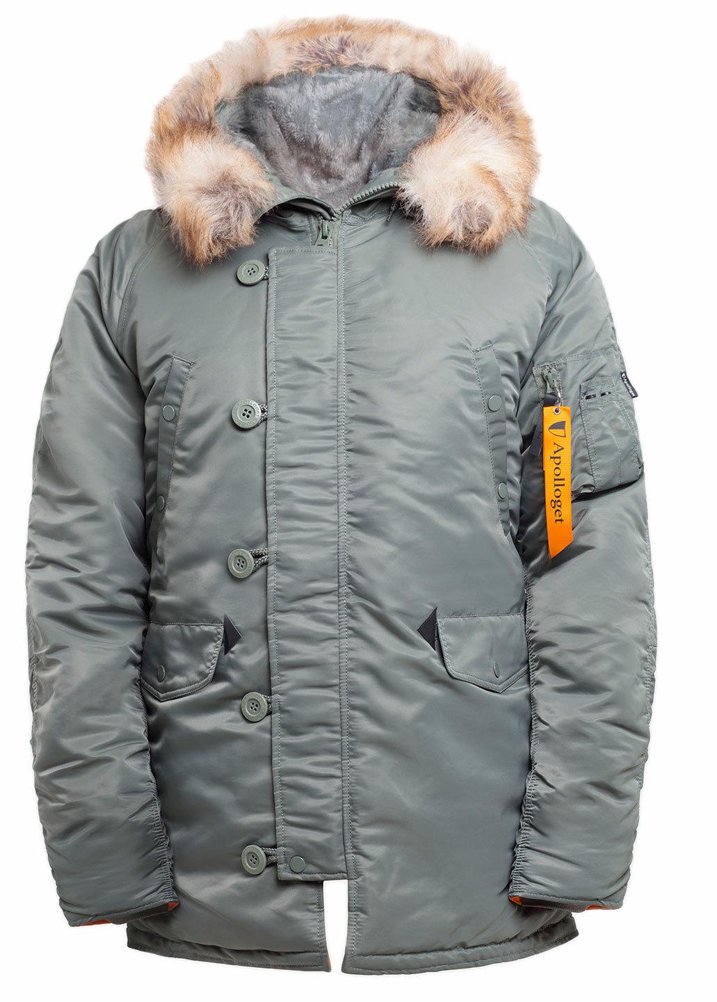 Куртка Аляска  N-3B  Husky Nord Storm Apolloget 2019 (оливковый - olive/orange)