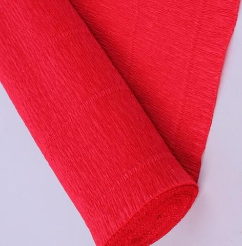 Бумага гофрированная, цвет 980 красный, 140г, 50х250 см, Cartotecnica Rossi (Италия)
