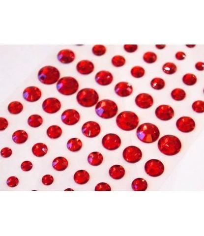 Стразы самоклеющиеся круглые разного размера 78 шт красные