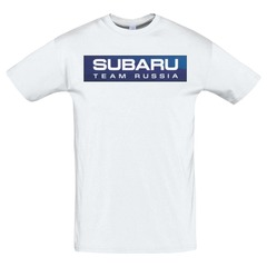 Футболка с принтом Субару (Subaru) белая 4