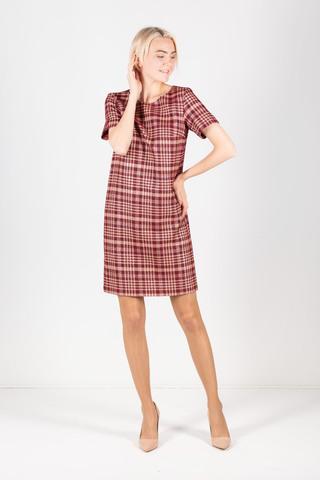 Фото классическое платье в клетку прямого силуэта с коротким рукавом - Платье З335-559 (1)
