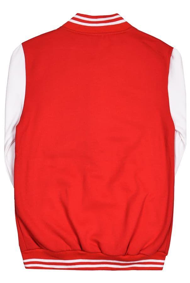 Бомбер красный с белым фото сзади