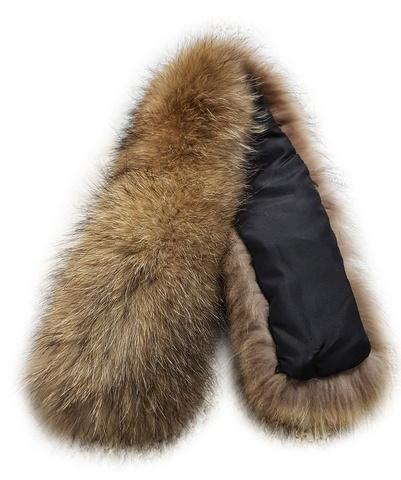 Опушка на капюшон из натурального меха енот 70 см (Широкая) ширина до 20 см вместе с мехом.