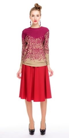 Фото красная трикотажная юбка-полусолнце длины миди - Юбка Б052-503 (1)