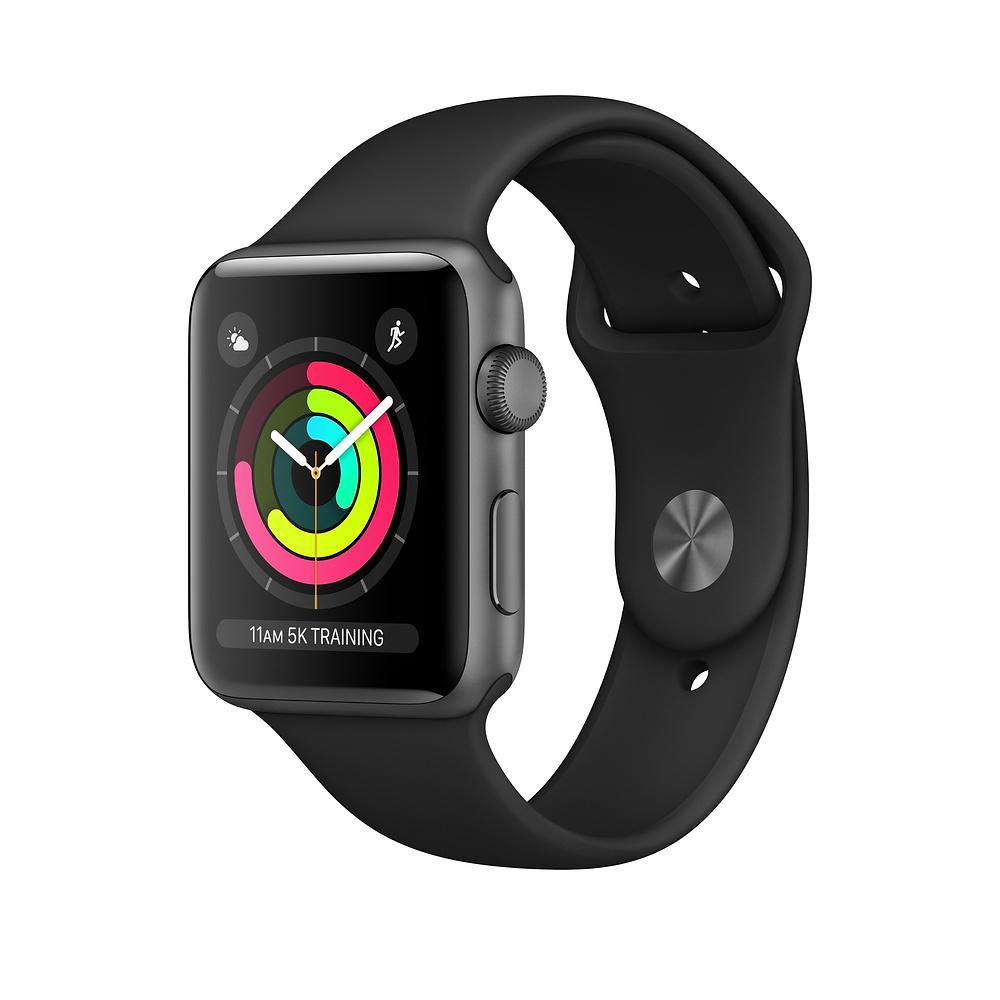 Apple Watch Series 3 GPS, корпус 42 мм, алюминийцвета  «серый космос», спортивный ремешок чёрного цвета
