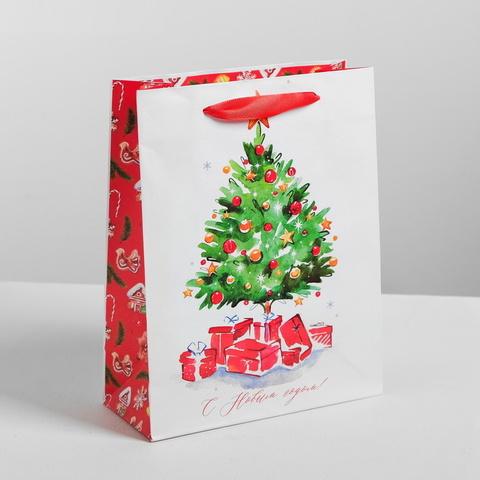Пакет ламинированный вертикальный «Акварельный рисунок с Новым годом» Ёлочка 31 × 40 × 9 см цвет: белый-красный