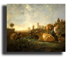 """Репродукция """" Альберт Кейп - Вид на Дордрехт с дояркой, пастухами и коровами"""""""