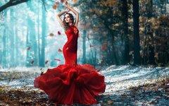 Картина раскраска по номерам 40x50 Девушка в красном платье в осенней листве