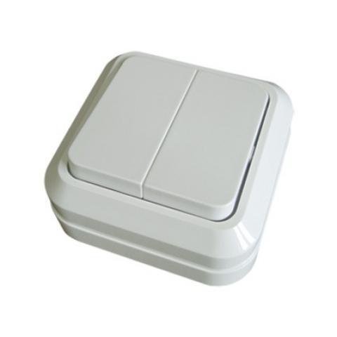 Выключатель 2-кл. открытой установки IP20 10А, белый