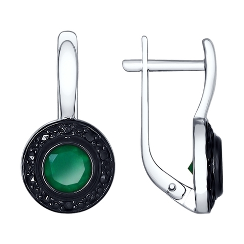 92021545- Серьги из серебра с темно-зелеными  агатами и марказитами