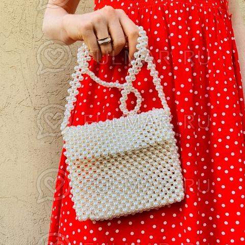 Мини-сумка летняя винтажный стиль через плечо искусственный жемчуг Paris