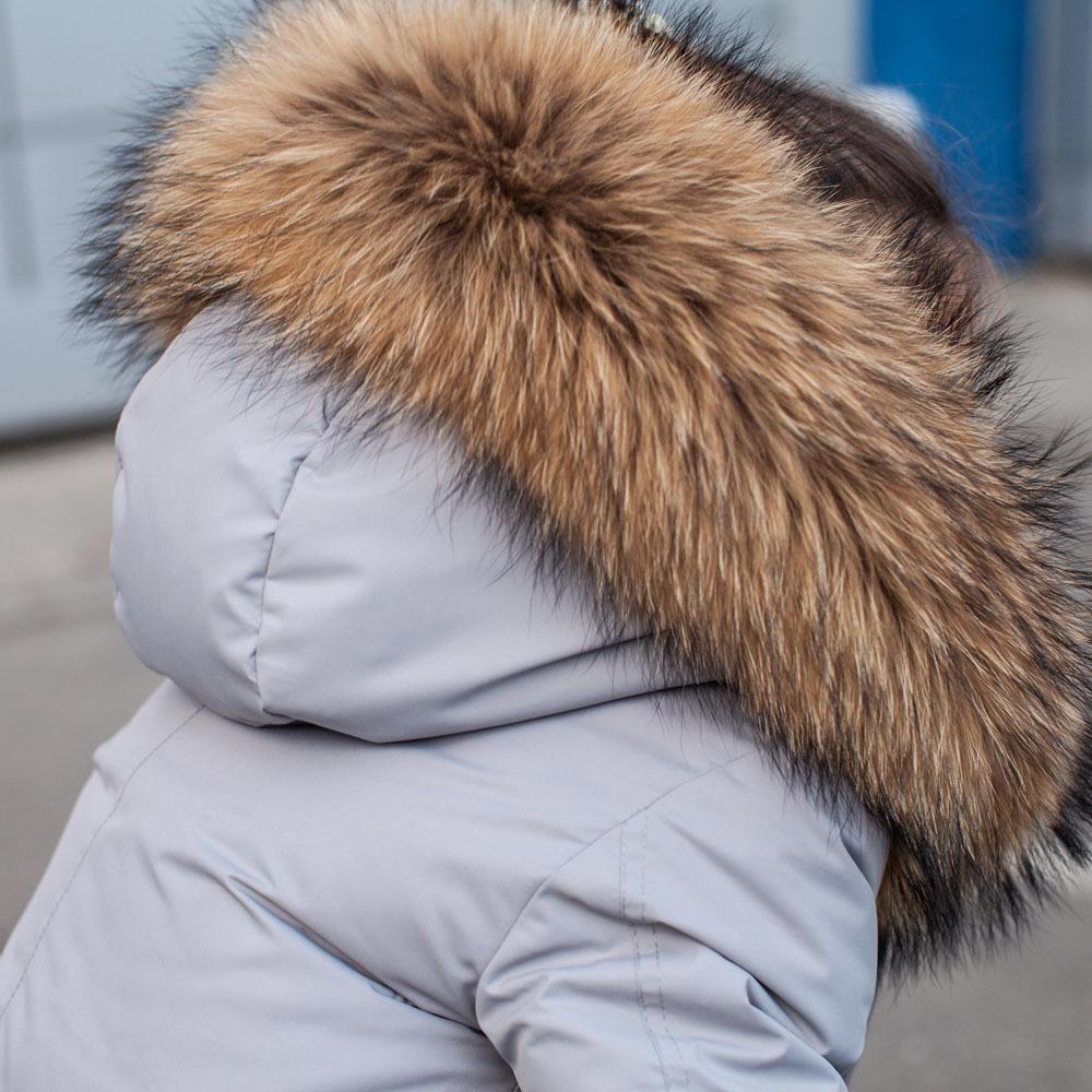 Зимняя подростковая серая парка с мехом