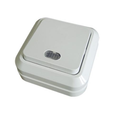 Переключатель на 2 направления 1-кл. открытой установки с подсветкой IP20 10А, белый