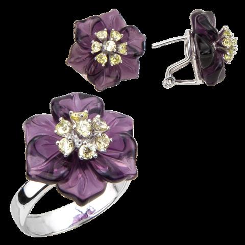 Комплект украшений с цветами из фиолетового кварца и фианитами № БА2