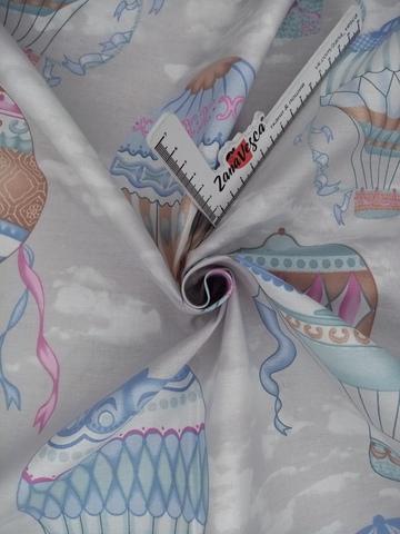 Премиум ранфорс Воздушные шары розово-голубые