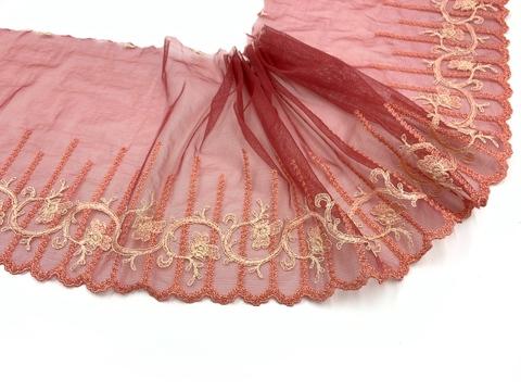 Вышивка на сетке эластичная кармин/лосось (левая) 20 см, Италия
