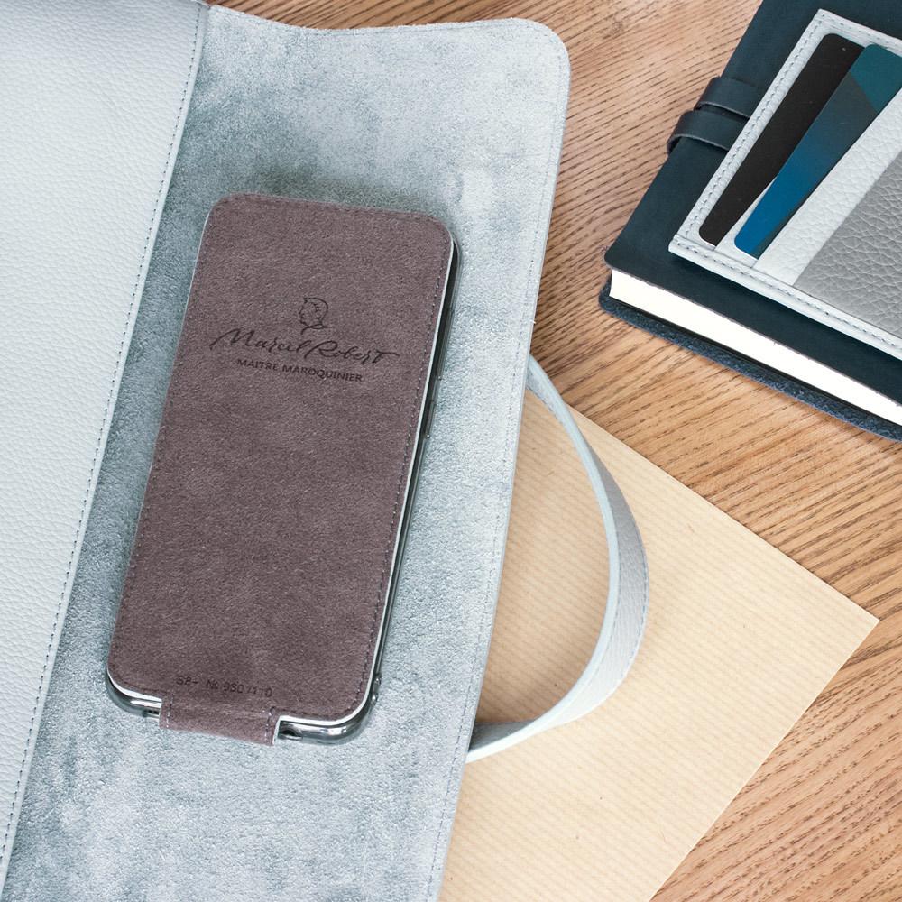 Чехол для Samsung Galaxy S9 Plus из натуральной кожи теленка, голубого цвета