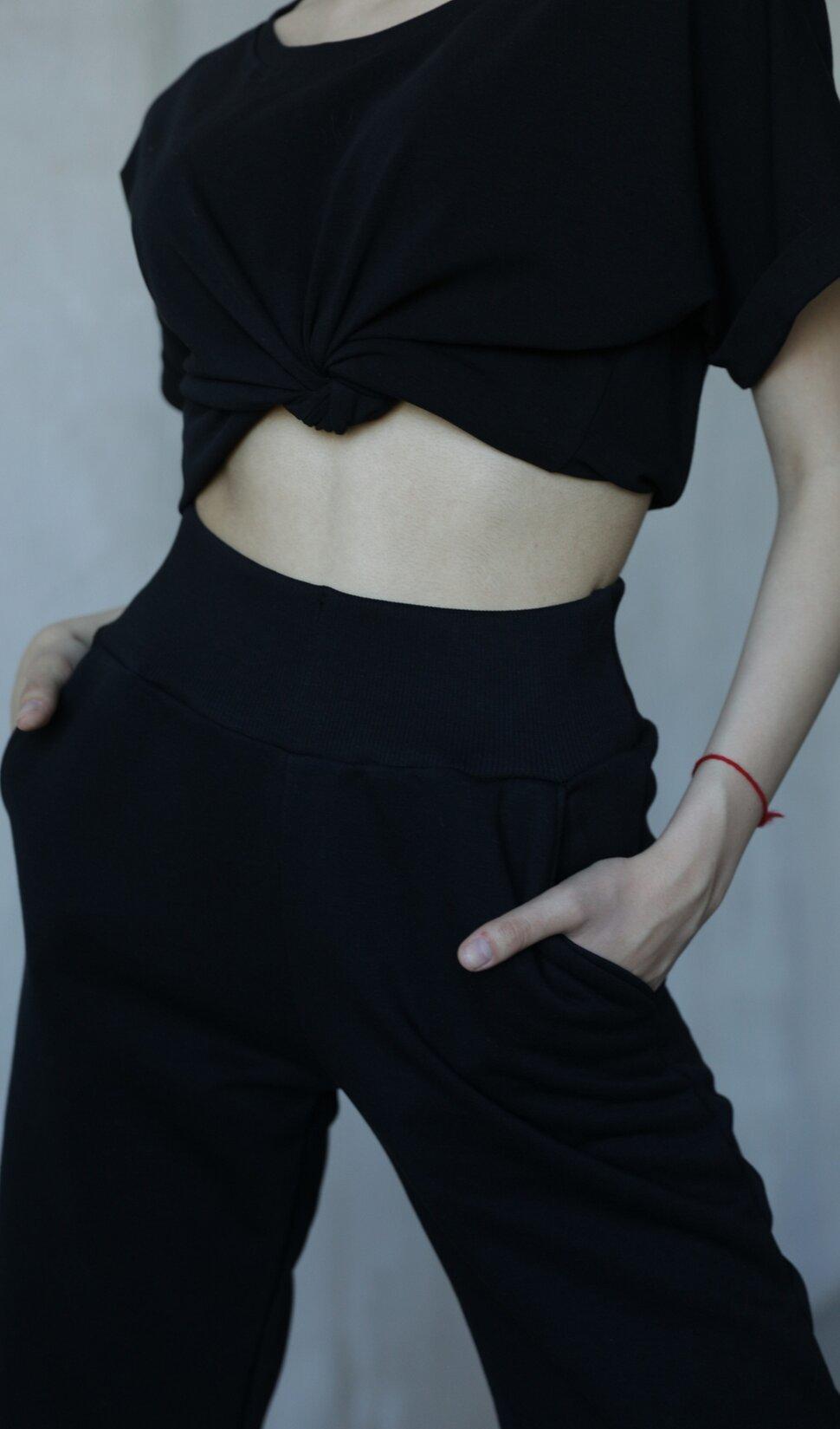 черные женские спортивные брюки Basic Cotton Black