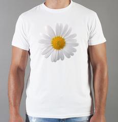 Футболка с принтом Цветы (Ромашки) белая 002