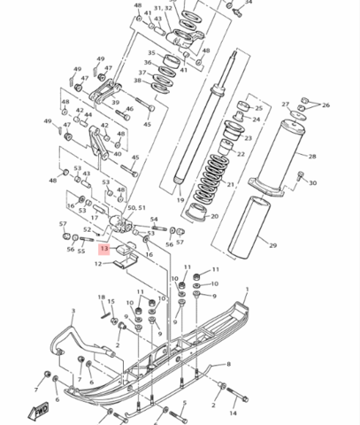 Амортизатор лыжи Yamaha VK540 88T237430000