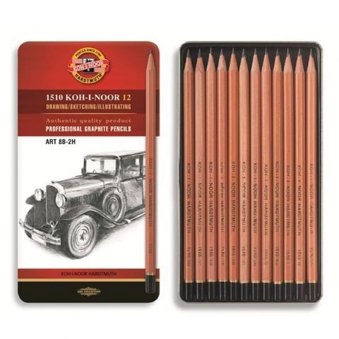 Набор чернографитных карандашей KOH-I-NOOR Art, 2Н-8В, 12 шт., жестяная коробка
